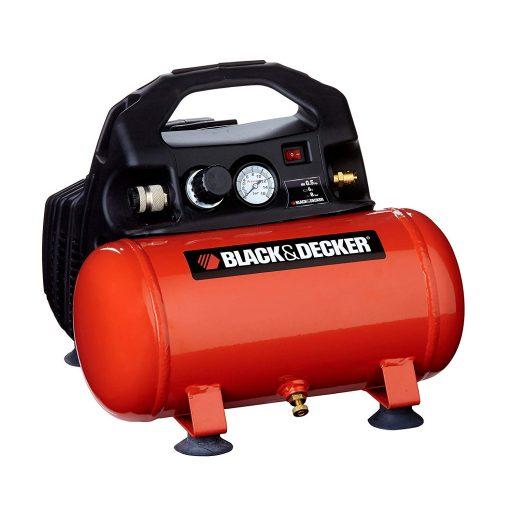 compresor de aire BlackDecker-1797 de 6 litros en color naranja